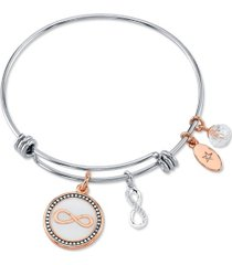 """unwritten """"forever friends"""" infinity bangle bracelet in stainless steel & rose gold-tone"""