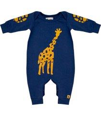 macacão gorette the cat manga longa azul girafa - amarelo/azul/azul marinho - masculino - algodã£o - dafiti