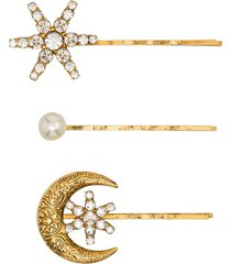 jennifer behr crystal and pearl star and moon set of three hair clips