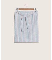 falda recta con botones a cuadros