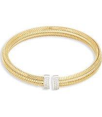 18k yellow & white gold & diamond cuff bracelet