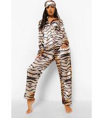 5-delige satijnen tijgerprint pyjama set, brown