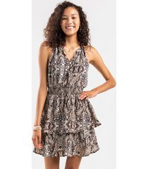 eva tiered snake print mini dress - brown