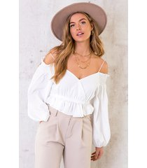 crop off shoulder blouse ecru