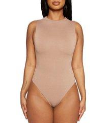 women's naked wardrobe jersey sleeveless bodysuit, size large - beige