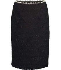 black slim tweed skirt
