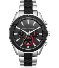 armani exchange designer men's watches, aix black dial and silver tone men's chronograph watch