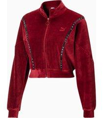 cropped velour full zip sweater voor dames, rood, maat s | puma
