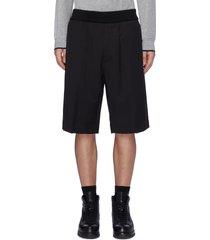 elastic waistband virgin wool shorts