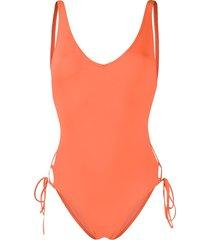 sian swimwear sian lace-up swimsuit - orange