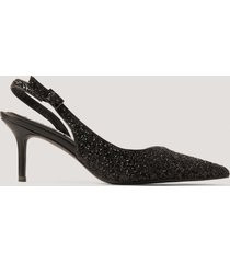 na-kd shoes glittriga, spetsiga slingbackpumps - black