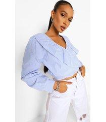 gestreepte wikkel blouse met ruches, blue