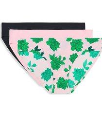 aqs women's 3-pack seamless bikini panties - green pink multicolor - size l