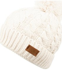 angela & william cable pom beanie with sherpa lining