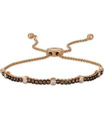 chocolate diamond & vanilla diamond bolo bracelet (3/4 ct. t.w.) in 14k rose gold
