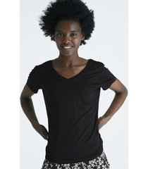 kortärmad t-shirt med v-ringning - svart