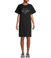 love moschino women's embellished logo t-shirt dress - black - size 40 (6)