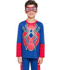 pijama fantasia aranha veggi azul - azul - menino - algodã£o - dafiti