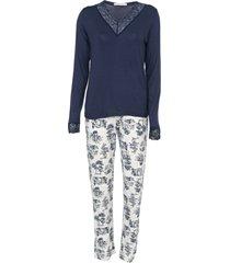 pijama cor com amor estampado azul-marinho/cinza