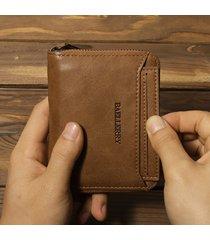 uomo vintage portafoglio corto in pelle pu con zip portacarte