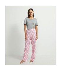 pijama blusa manga curta e calça estampada meninas superpoderosas   meninas super poderosas   cinza   g
