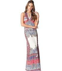 vestido longo malha estampado decote rendado