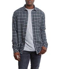 men's rails lennox regular fit plaid button-up shirt, size small - grey