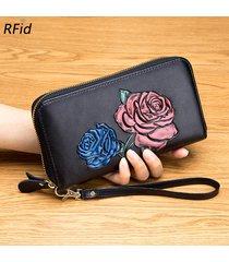 brenice rosa a rilievo rfid portafogli portafoglio con cerniera vintage da 36 pezzi