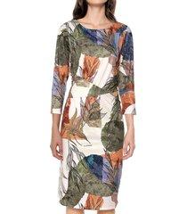 vestido manga 3/4 estampado multicolor realist