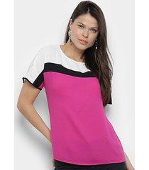 blusa morena rosa decote redondo manga curta básica feminina