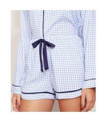 short de pijama feminino estampado vichy com vivo contrastante e laço azul