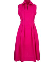 cotton dress with pleats fuchsia