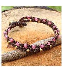 brass braided bracelet, 'pink boho chic' (thailand)