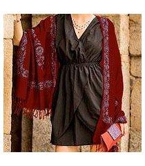 wool shawl, 'floral wine' (india)