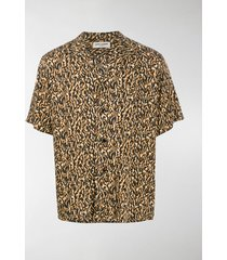 saint laurent abstract leopard print shirt