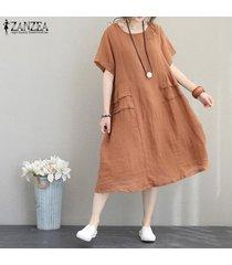 zanzea partido de las mujeres vestido de tirantes de algodón de verano oficina de trabajo de la llamarada suelta más el tamaño de vestido de midi -naranja