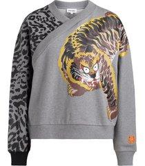kenzo sweatshirt for kansaiyamamoto grey with jungle cat print