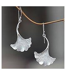 sterling silver dangle earrings, 'oyster mushroom' (indonesia)