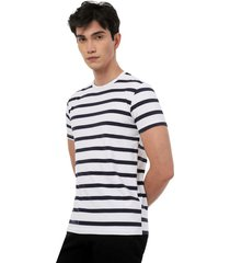 camiseta hombre a rayas color blanco, talla xs