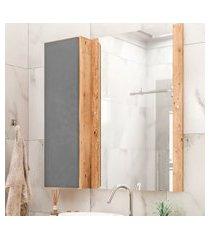 armário de banheiro com espelho castellon 1 pt cinza