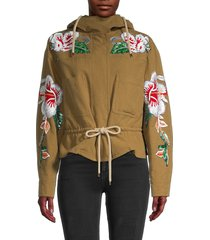 valentino women's embroidered hooded jacket - dark ginger - size 6