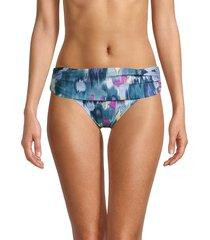 dkny women's foldover bikini bottom - bali blue - size xl