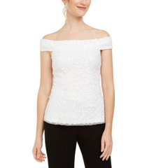 adrianna papell sequined off-the-shoulder top