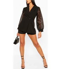 organza sleeve tailored blazer, black