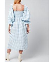 sleeper women's atlanta linen dress - blue vichy - l