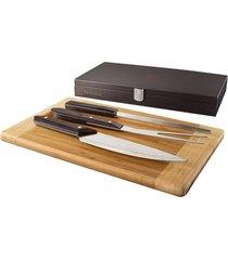 kit para churrasco electrolux 3 peã§as em lindo estojo madeira/prata - marrom - dafiti