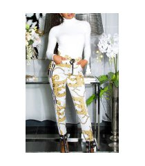 sexy thermo broek met chain patroon wit