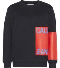 buzo negro calvin klein calvin jeans relaxed crew neck