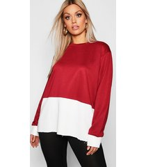 plus colour block oversized sweater, berry