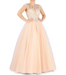 mac duggal women's cutout cap-sleeve ball gown - peach - size 4